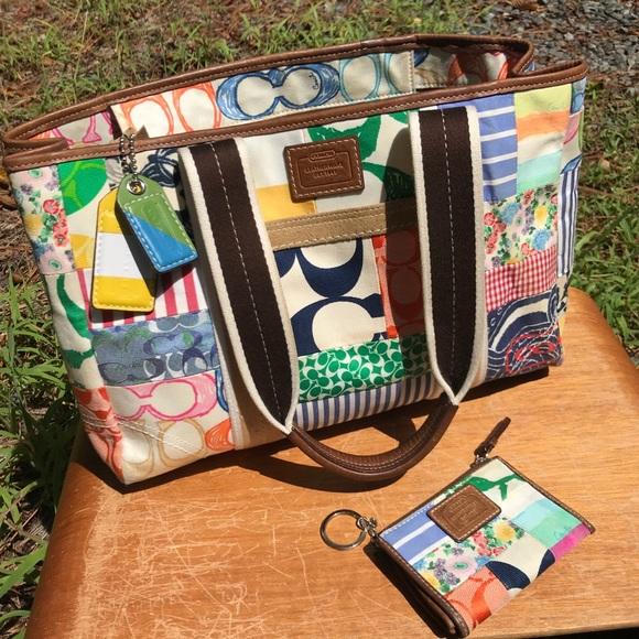 Coach Handbags - Colorful Coach Hamptons Patchwork bag WITH wallet